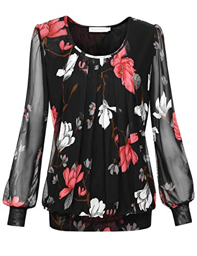 BAISHENGGT Women's Long Sleeve Pleated Front Mesh Blouse Small Black Floral - Blouse Tuck Front