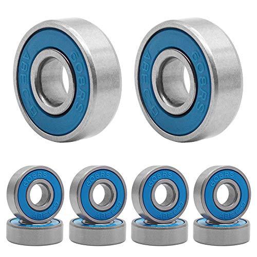 HOSTK Qpower 100 Pcs Skateboard Bearing, 608 ABEC-9 High Speed Wearproof Skating Steel Wheel Roller, Precision Inline Skate Bearings for Longboard, Kick Scooter, Roller Skates (Blue)
