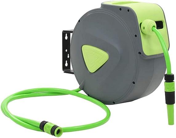 SOULONG - Enrollador de Manguera de Aire retráctil automático para Pared, jardín, riego y Lavado de Coche, Equipado con un Conector automático con Mecanismo de Bloqueo de 20 Metros: Amazon.es: Hogar