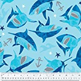 Sharks & Anchors Anti-Pill Fleece Fabric by The Yard