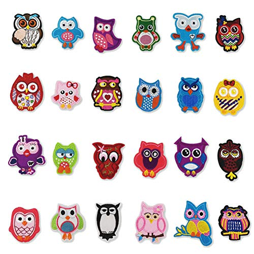 Embroidered 3 D Stickers - 24 Pcs Cartoon Owl Bird Patch Embroidered DIY Decorative Applique Children Clothes 3D Stickers Iron On Patches for Cute Clothes