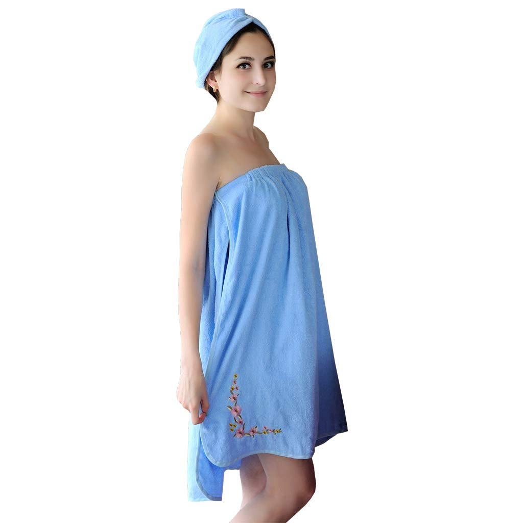 FeelMeStyle Women's Spa Wrap Towel Body Wrap Towel with Hair Dry Cap Solid Color