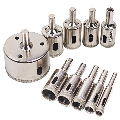 Chartsea 10pcs Diamond Tool Drill Bit Hole Saw Set For Glass Ceramic Marble 6-50mm Pro (A) (Pro Diamond Hole Saw)