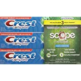 Crest Complete Whitening Plus Scope Toothpaste Value Pack of 3, Minty Fresh