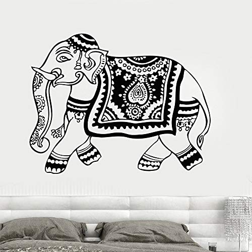 Jiesa Wall Art Decal Sticker Words Wall Saying Words Removable Mural Elephant India Deca Hindu Animal Hinduism Art Yoga Ganesh Tribal