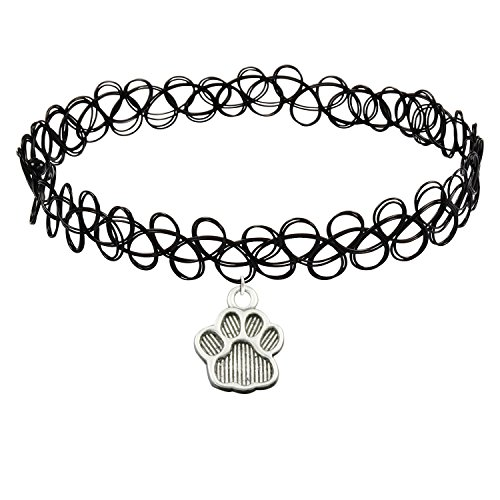 Cozylife Girls Black Stretch Gothic Tattoo Henna Collar Choker Necklace Elastic with Dog Paw ()