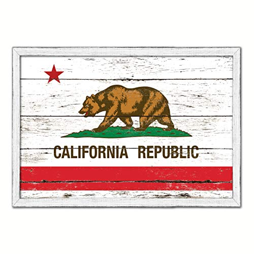 (California State Flag White Cottage Farmhouse Shabby Chic Gifts Home Decor Wall Art Canvas Print, Wash Wood Frame, 13