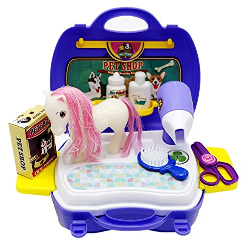 Little Treasures Animal Grooming Toy Baby Pony Travel Pet Shop Play Kit That Includes a White Horse with Pink Hair and Tools Pretend Play Kit (8 Pcs (Pet Shop Kit)