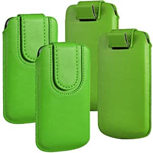 N4U Online - paquete doble - Tire Sony Xperia Z3 compacto botón magnético PU Tab Protección Cubierta Case - Green