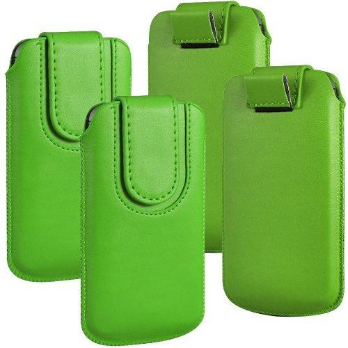 N4U Online - Paquet Double - Apple iPhone 3G bouton magnétique PU cuir Pull Tab protection étui couverture de peau - Vert