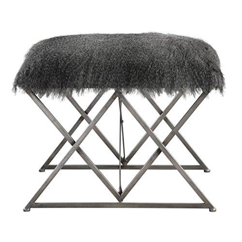 Neiman Marcus Fur (Elegant Plush Faux Fur Shaggy Ottoman Bench | Gray Brown Silver Stool)