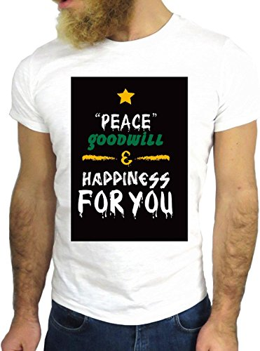 T SHIRT JODE Z1408 HAPPYNESS GOODWILL PEACE GOD YOU FUN COOL FASHION NICE GGG24 BIANCA - WHITE XL