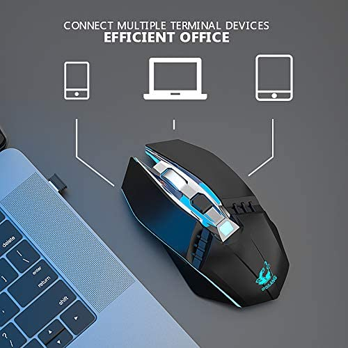 MeterMall Great for X5 Wireless Gaming Mouse Rechargeable 500mAh Battery Bluetooth 3.0+5.0+2.4G Wireless Optical Mice Adjustable DPI Levels for Laptop PC Mac Black