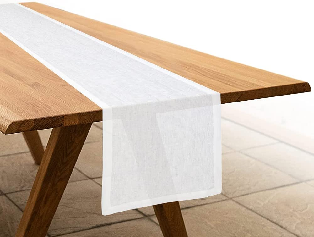 Home Kear Cotton Linen Table Runner 14 x 72 Inch Natural Fabric Machine Washable Table Runner for Home Party Wedding and Farm House Decor - White