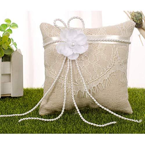 Outtybrave Linen Lace Bridal, cojín de Anillo, para Boda ...