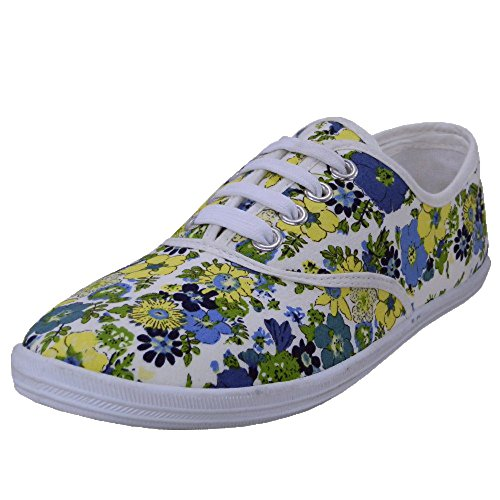 Canvas with Easy Yellow 6 M Shoe Lace Insole B Padded Up USA Womens Daisy US TUUxFw