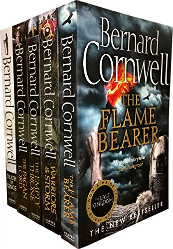 Bernard Cornwell Warrior Chronicles, The Last Kingdom Series 2 Books Set Collection Pack (5 Books Tiles are: Flame Bearer, Death of Kings, Warriors of the Storm, The Pagan Lord, The Empty Throne Books by Harper Voyager (Image #1)