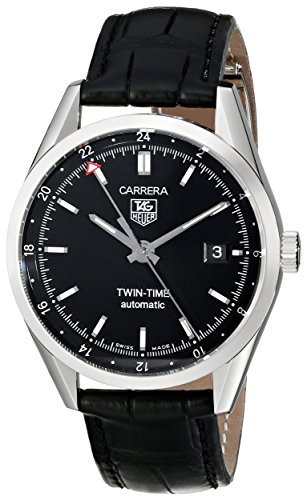 (TAG Heuer Men's WV2115.FC6180 Carerra Calibre 7 Twin Time Automatic Black Dial Black Crocodile Watch)