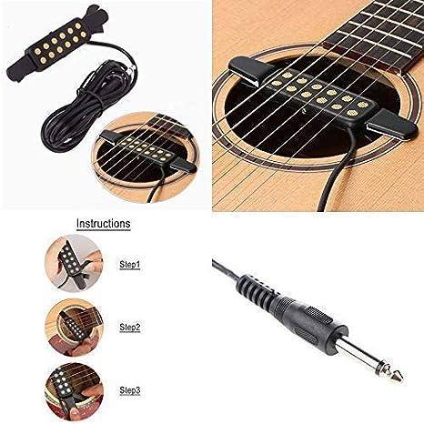 Silenceban - Transductor eléctrico acústico para guitarra acústica, longitud del cable 10 pies: Amazon.es: Instrumentos musicales