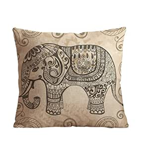 "ilkin Custom Cotton Linen Square Decorative Throw Pillow Case Cushion Cover Vintage Elephant Pattern 18 ""X18 """