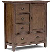 Simpli Home Redmond Solid Wood Medium Storage Cabinet, Rustic Natural Aged Brown