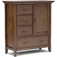 Simpli Home Redmond Solid Wood Medium Storage Cabinet, Rustic Natural Aged Brown