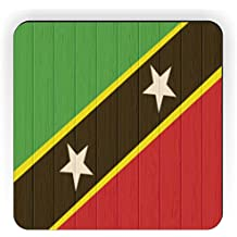 Rikki Knight Saint Kitts And Nevis Flag on Distressed Wood Design Square Fridge Magnet