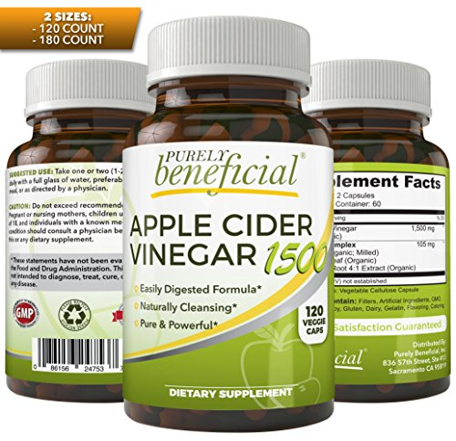 Organic Apple Cider Vinegar 1500mg - Raw, Non-GMO, Extra Str