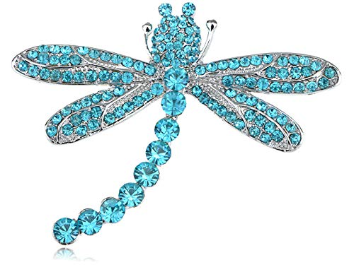 Fashion Silver Purple Crystal Rhinestone Peacock Dragonfly Animals Pin Brooch (Parttern - Style-9)
