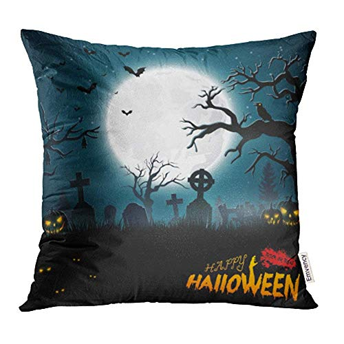 MJHAN Decorative Throw Pillow Case Cushion Cover Blue Animal of Halloween Party Autumn Bats Bird Cartoon Celebration Cemetery 18x18 Inch Cases Square Pillowcases Covers Two Sides Print ()