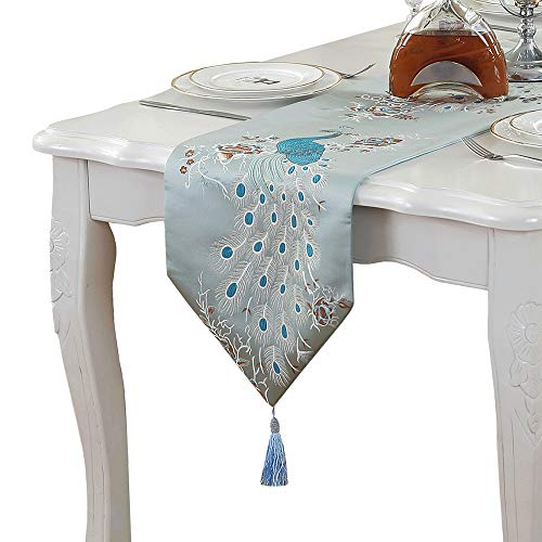 PHNAM Embroidery Peacock Table Runners with Tassel 13