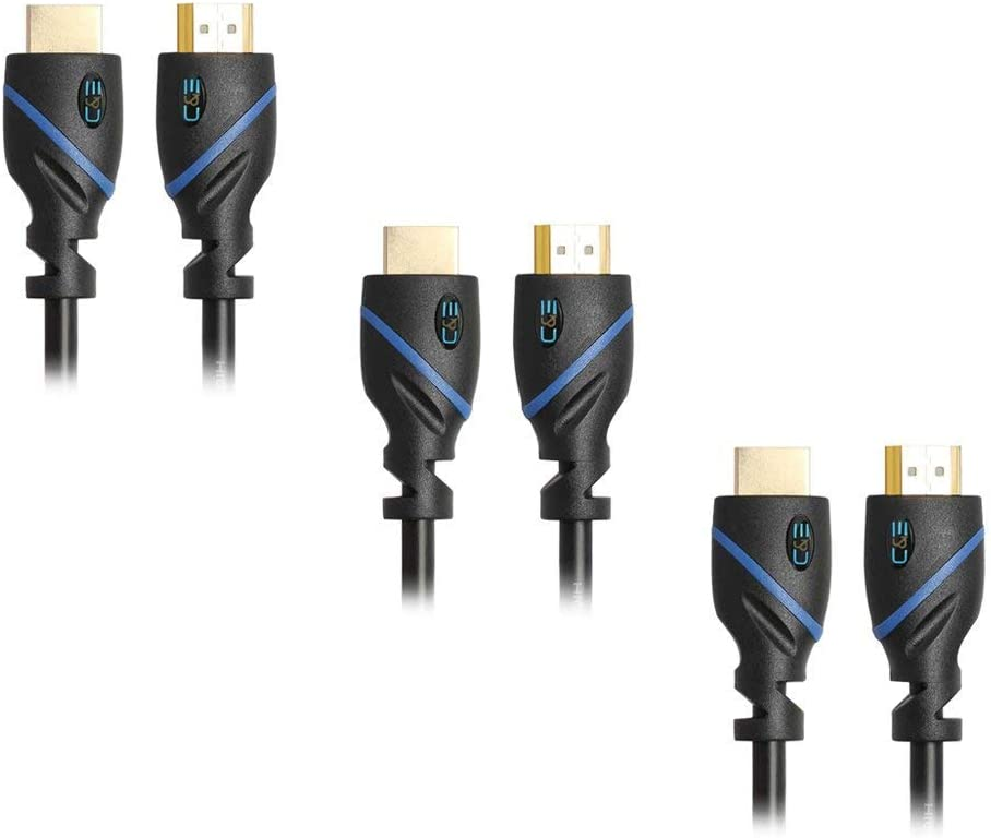 3D 10 Feet//3 Meters 3M 3 Pack Supports 4K 30Hz 10ft High Speed HDMI Cable Male to Male with Ethernet Black 1080p and Audio Return CNE58529