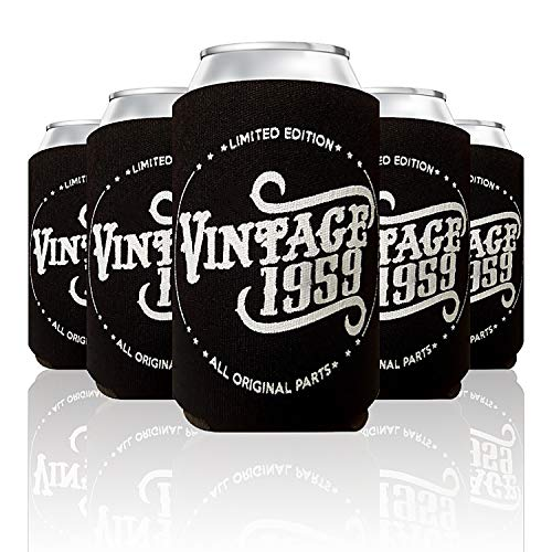 Vintage 1959 Limited Edition 60th Birthday Gift Can Coolers Party Favor for Men and Women, Black, 24 Pack