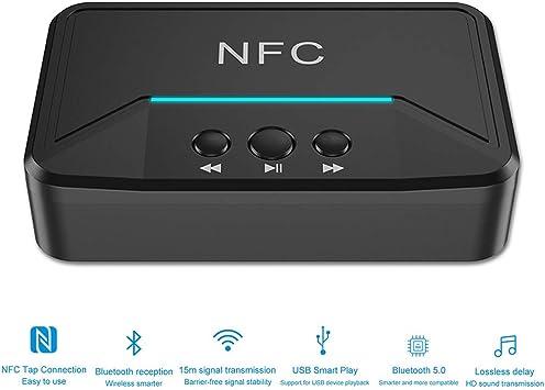 Dyna-Living - Transmisor Bluetooth, Adaptador Bluetooth 5.0, Receptor Bluetooth NFC, Receptor Bluetooth, transmisor 2 en 1 con USB 3,5 mm 2RCA Conexiones para TV, PC, portátil, Auriculares, Altavoces: Amazon.es: Electrónica