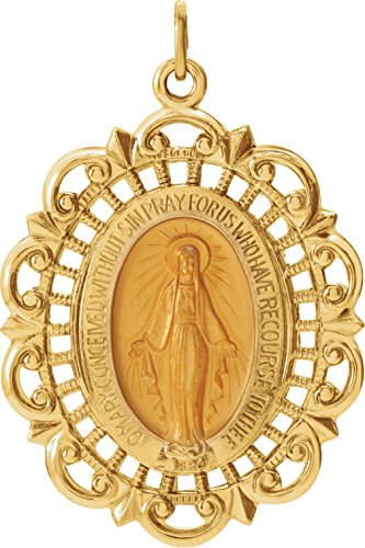 14k Yellow Gold Oval Filigree Miraculous Medal (32x23 MM)