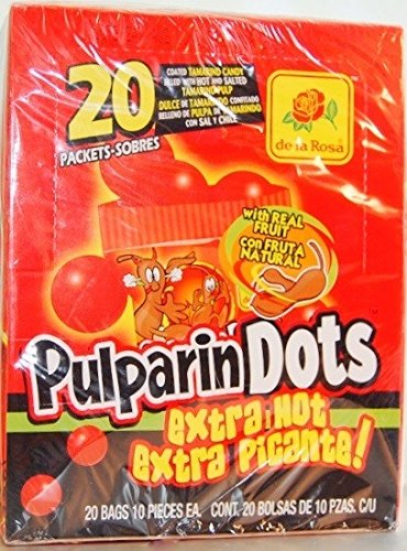 De La Rosa Pulparindots Tamarind Extra Hot – Soft tamarind candy snack extra spicy – Box of 20 Packets with 10 Pcs EA.