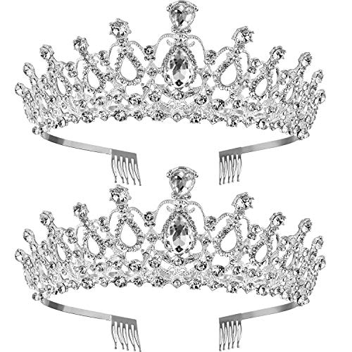 TecUnite 2 Pack Wedding Crown, Crystal Rhinestones Crown Princess Crown with Comb Exquisite - Crown Rhinestones