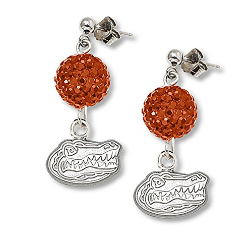 Lex & Lu LogoArt Sterling Silver Univ Of Florida Crystal Ovation Earrings