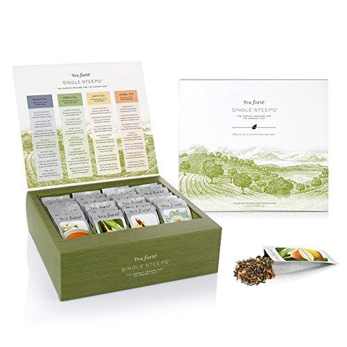 Amazon Lightning Deal 98% claimed: Tea Forte Single Steeps Loose Leaf Tea Chest, 28 Single Serve Pouches - Black Tea, Green Tea, White Tea, Herbal Tea