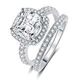 Panghoo 925 Sterling Silver Cz Diamond Wedding Ring Set for Women (7)