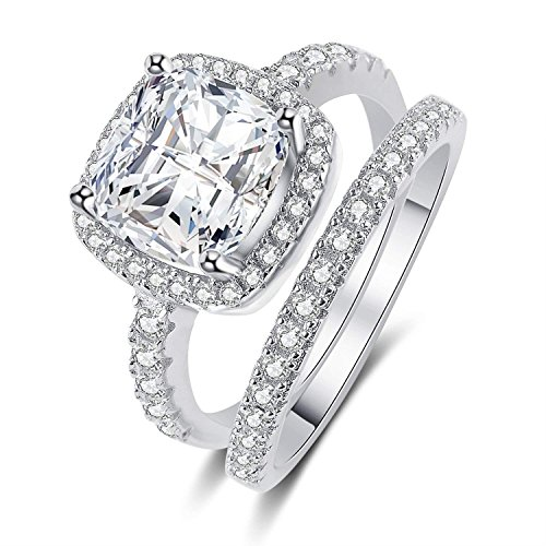 Panghoo 925 Sterling Silver Cz Diamond Wedding Ring Set for Women (7) by Panghoo