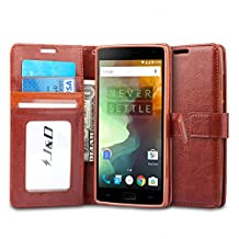OnePlus 2 Case, J&D [Stand View] OnePlus 2 Wallet Case [Slim Fit] [Stand Feature] Premium Protective Case Wallet Leather Case for OnePlus 2 (Brown, OnePlus 2)
