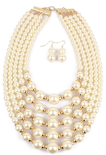 ltilayers Faux Pearl Bead Cluster Collar Bib Choker Necklace and Earrings Set (White) ()