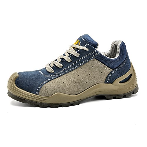 SAFETOE Safety Shoes Work Boots Wide L7295 Leather &Steel Toe Work Shoes for Men and Women Blue -