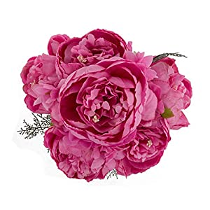 EZFLOWERY 1 Pack Artificial Peony Silk Flowers Arrangement Bouquet for Wedding Centerpiece Room Party Home Decoration, Elegant Vintage, Perfect for Spring, Summer and Occasions (1, Spring Hot Pink) 82