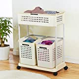 Plastic floor storage rack/ kitchen bathroom rack/Mobile laundry basket/ laundry basket-A
