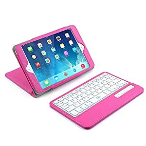 iPad Mini 1 2 3 Keyboard Case, BESTEK Bluetooth Wireless Keyboard with Stand Case Cover, Rechargeable, Removable, Pink