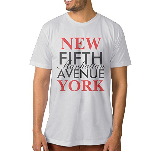 ZhiqianDF Men Fifth Avenue New York Leisure Party White Shirt XL Short - The New York Americas Avenue Of