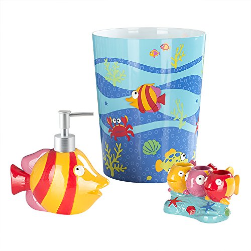 Allure Home Creations Fish Tails 3-Piece Bathroom Accessory Set - 1 Lotion Pump,1 Toothbrush Holder and 1 -