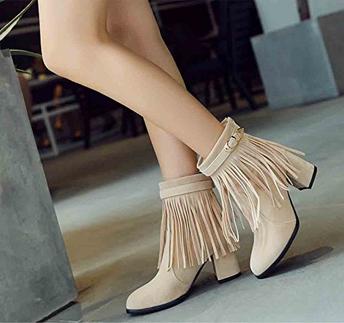 Easemax Womens Sweet Fringed Round Toe Back Zipper Mid Block Heel Ankle Boots Apricot 0hC5FSUJw